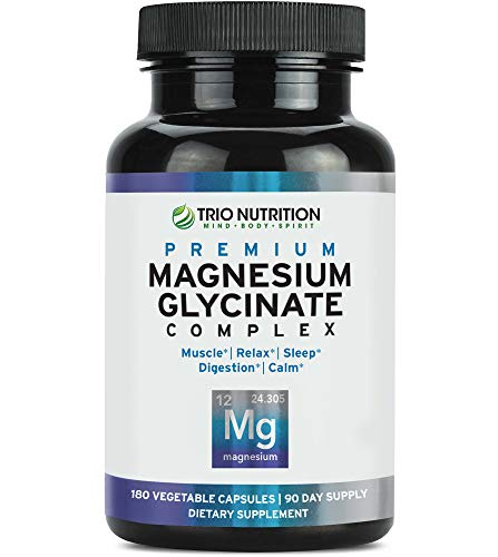 Magnesium Glycinate Complex - Powerfully Chelated with Added Vitamin B6 for Rapid Absorption - for Calm, Sleep, Muscle, Bone Relaxation Revitalization & Recovery - Vegetarian Capsule, 100% Daily Value ()