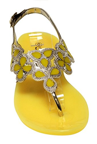 Forever Fairy-25 Womens Floral Golden Crystal Thong Adjustable Ankle Strap Summer Color Rubber Sole Sandals Yellow 6 fOKLufl