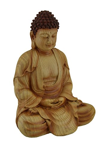 (Zeckos Sitting Meditating Buddha Decorative Faux Carved Wood Look)
