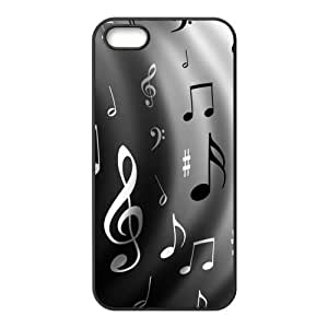 iPhone 5S Protective Case - Black and White Musical Note Hardshell Carrying Case Cover for iPhone 5 / 5S