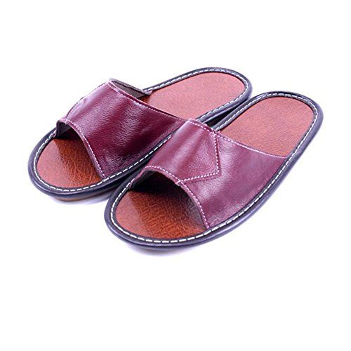 Women Men Autumn Spring Summer Slippers Wooden Smelly Floor Cowhide TELLW Anti Corium for Leather Hwx47q71WO