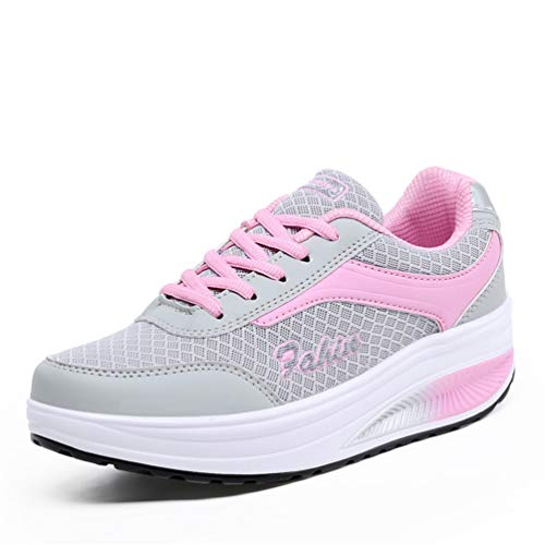Womens Sneakers Fashion Trainers Thick Wedge Comfortable Retro Platform Basket Block Shoes(Pink-Lable 38/7 B(M) US Women)