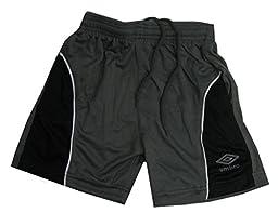 UMBRO Little Boys\' Color Block Mesh Short, Charcoal/Black, 4
