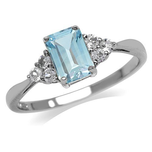 1.2ct. Genuine Blue Topaz & White CZ 925 Sterling Silver Engagement Ring Size 6.5