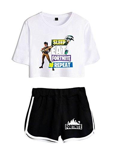 nero4 Abbigliamento e e T Top Fortnite Shirt ZIGJOY Shorts Bianco Donne per Crop Ragazze Completo pq06Ptw