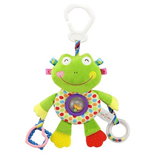Frog Rattle (Cartoon Animal Stroller Teethers Hanging Rattles Plush Toys frog)