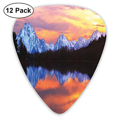 Celluloid Guitar Picks - 12 Pack,Abstract Art Colorful Designs,Snake Lake At Grand Teton National Park Fascinating Sunset View With Reflections,For Bass Electric & Acoustic Guitars.