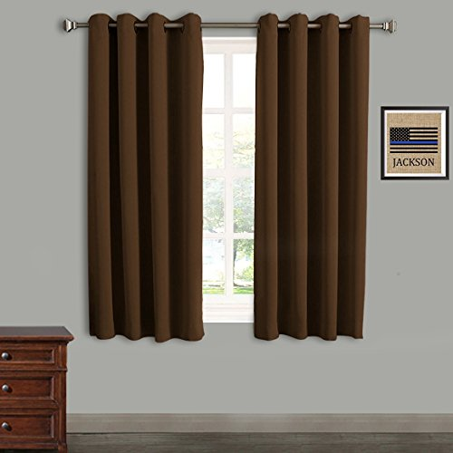 RHF Blackout Thermal Insulated Curtain - Antique Bronze Grommet Top for bedroom-Set of 2 Panels-52W by 63L Inches-Chocolate-5263p2 (Chocolate Antique Set)