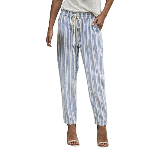 Pants For Women, vermers Striped Printed Drawstring Elastic Pencil Long Trousers(XL, -