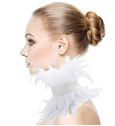 L'VOW White Victorian Natural Feather Choker Collar Gothic Neck Wrap (Style Three)