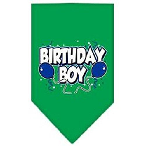 Mirage Pet Products Birthday Boy Screen Print Bandana for Pets, Large, Emerald Green (Print Bandana Screen)