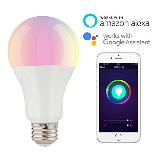 Smart LED Light Bulb E26 A21 10W 100W Equivalent Multicolor Wifi Remote Control Dimmable for IOS Android Work with Alexa