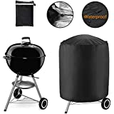 MAXTUF 30.3 inch Round Grill Cover, Heavy-Duty Waterproof Gas Barbeque Grill Cover with Double Stitching and Heat Sealed Seams BBQ Cover for Weber, Holland, Jenn Air, Brinkmann, Char Broil (XS)