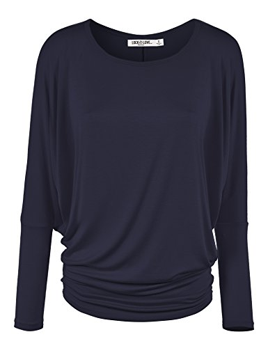 WT826 Womens Batwing Long Sleeve Top S Navy