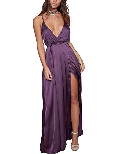 Yimeili Women's Sexy Deep V Neck Backless Split Maxi Cocktail Long Party Dresses (M, Purple)