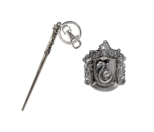 (Mozlly Value Pack - Harry Potter Harrys Wand Pewter Key Chain and Hogwarts Slytherin Crest Pewter Lapel Pin - Novelty Character Collectible Fashion Accessories (2 Items))