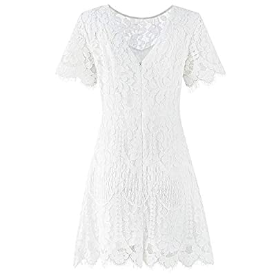 MSLG Women's Elegant Round Neck Short Sleeves V-Back Floral Lace Cocktail Party A Line Dress 910 at Women's Clothing store