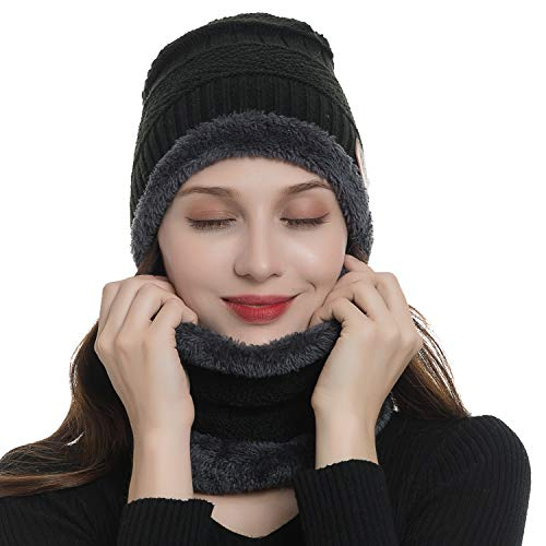 cccf2aee988 2-Pieces Beanie Hat Scarf Set Women Winter Warm Knit Hat Thick Infinity  Scarf Skull