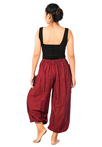Lofbaz Mujer Pantalones de Harén Cinturón Patrón de Elefante Color Sólido Burdeos