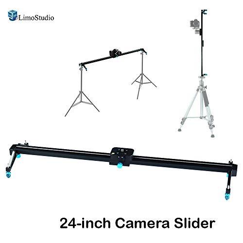 LimoStudio Blue 24 inch Video Stabilization System DSLR Camera Dolly Track Motion Slider, Photography Studio, ()