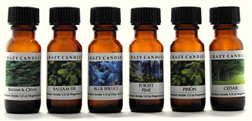 Crazy Candles 6 Bottles Set, 1 Balsam & Cedar, 1 Balsam Fir, 1 Blue Spruce, 1 Forest Pine, 1 Pinon, 1 Cedar 1/2 Fl Oz Each (15ml) Premium Grade Scented Fragrance Oils By