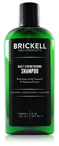 (Brickell Men's Products Daily Strengthening Shampoo for Men, Natural and Organic Featuring Mint and Tea Tree Oil To Soothe Dry and Itchy Scalp, Sulfate Free and Paraben Free, 8 Ounce, Scented)