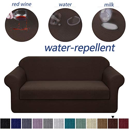 Granbest Premium Water Repellent Sofa Cover 2-Piece High Stretch Couch Slipcover Super Soft Fabric Couch Cover (Chocolate, Sofa-2 Pieces) (Cushions Large Sofa Sale For)