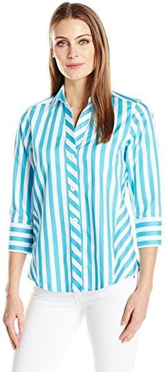 Foxcroft Womens Petite 3//4 Sleeve Paige Non Iron Shirt