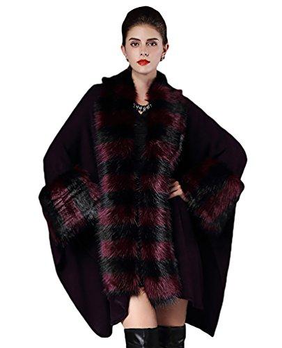 NiSeng Mujer capas cortos de pieles sinteticas para invierno estolas de piel poncons Morado