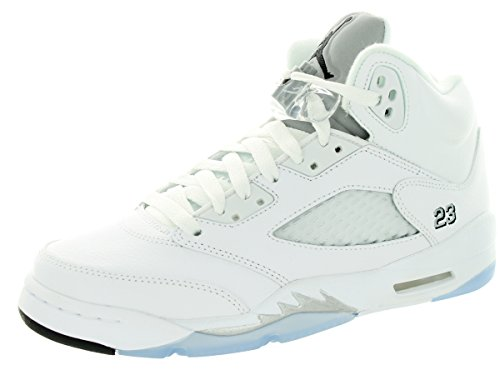 Nike Air Jordan 5 Retro BG, Chaussures de Sport Gar?on, Blanc, for Men Blanc / Noir / Argent