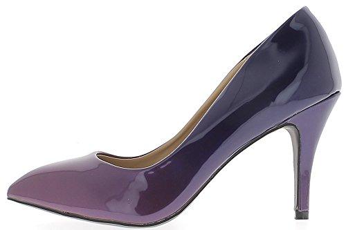 Escarpins grande taille violets vernis pointus à talon de 9,5 cm