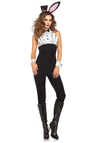 Leg Avenue Women's 4 Piece Tuxedo Bunny Costume, Black/White, Medium (Tuxedo Playboy Bunny Costume)