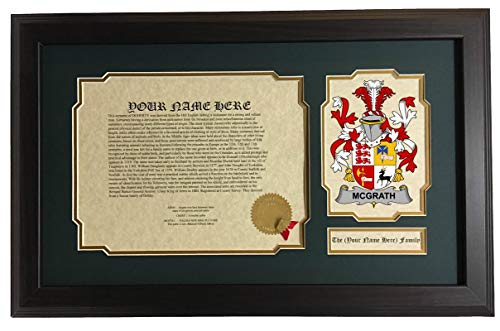McGrath - Coat of Arms and Last Name History, 14x22 Inches Matted and Framed
