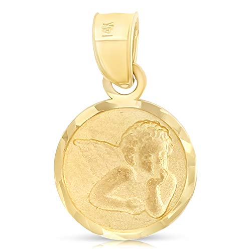 Ioka - 14K Yellow Gold Angel Religious Charm Pendant For Necklace or Chain (Guardian Angel Charms For Men)