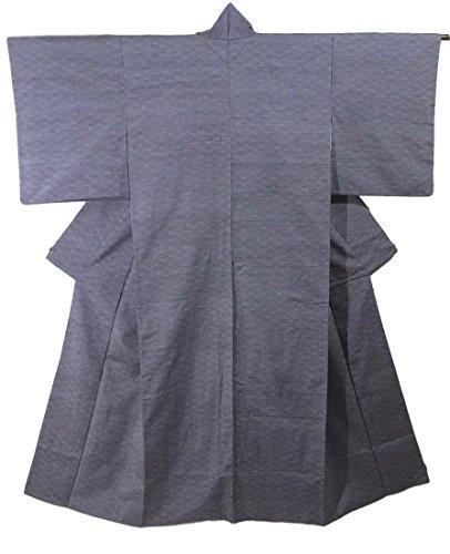 排出アナニバー雪だるまを作るリサイクル 着物 紬 網目文様 正絹 袷 裄62.5cm 身丈155cm