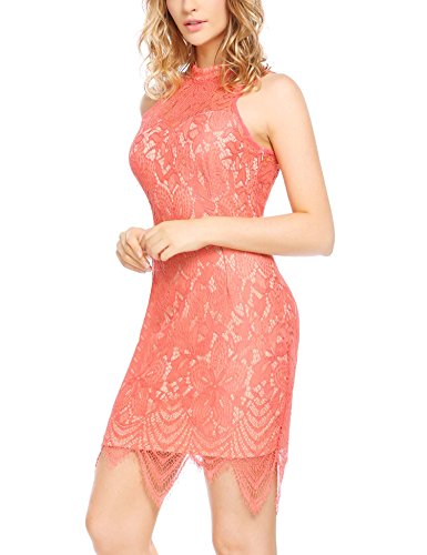 Women Lace Waisted Full Bridesmaid Party Dress Pink - 5