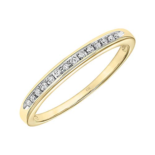Brilliant Expressions 10K Yellow Gold 1/20 Cttw Conflict Free Diamond Channel-Set Wedding or Anniversary Band (I-J Color, I2-I3 Clarity), Size 6