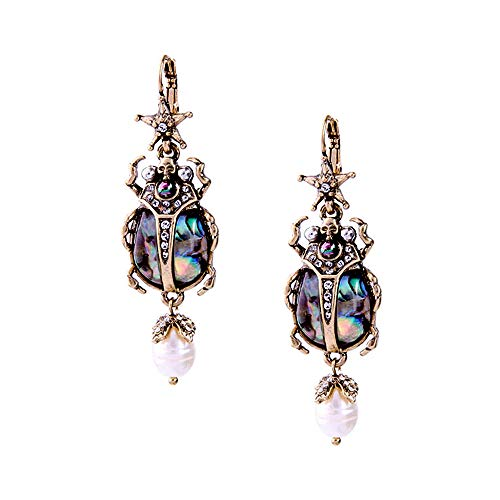 Joji Boutique Egyptian Collection: Stunning Antiqued Gold Scarab Drop Earrings