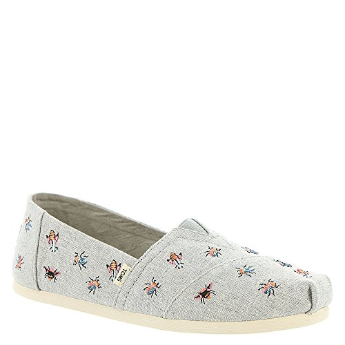 TOMS Women's Classic Flat Drizzle Grey Embroidered Bugs Size 10 B(M) US