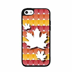 Autumn Leaf with Colorful Hearts Background 2-Piece Dual Layer Phone Case Back Cover iPhone 4 4s