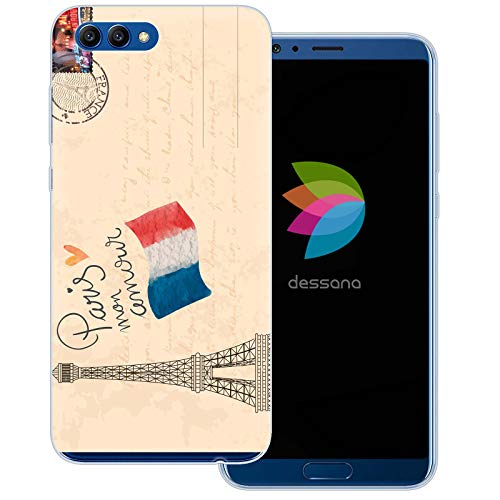 - dessana Postage Stamp Transparent Protective Case Phone Cover for Huawei Honor View 10 Postcard Paris