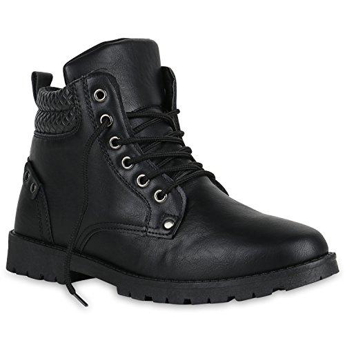 Herren Boots Schuhe Stiefel Schnürer gefüttert Flandell Schwarz Nieten
