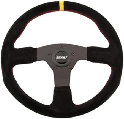Grant 8547 Suede Series Round Racing Steering Wheel with Yellow Center Line and Red Stitching