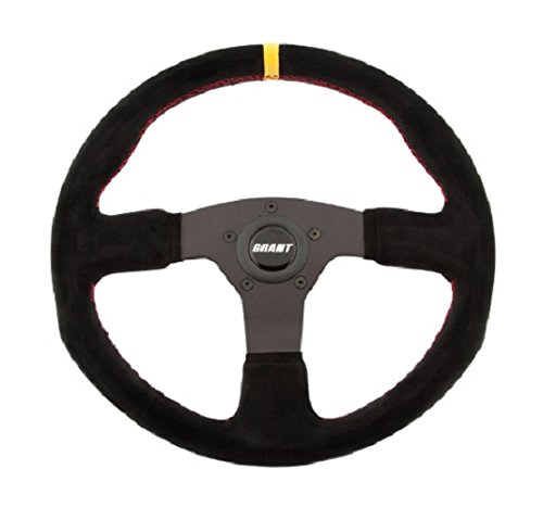 Grant 8547 Suede Series Round Racing Steering Wheel with Yellow Center Line and Red Stitching - Line Racing Wheels