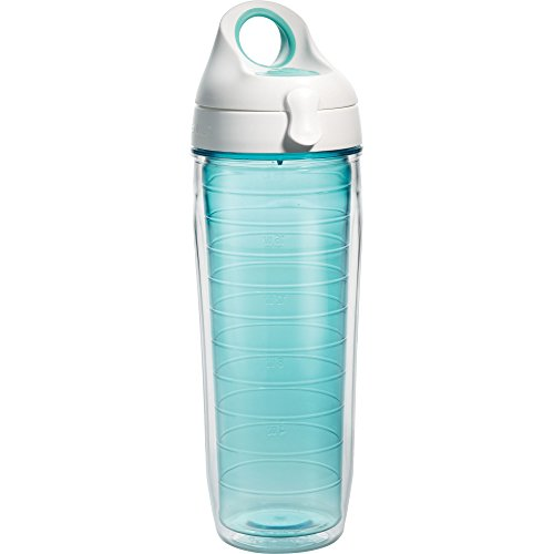 Tervis 1177166 Clear & Colorful, Coastal Green Tumbler and White with Green Lid 24oz Water Bottle, Coastal Green (Bottle Tervis Water)