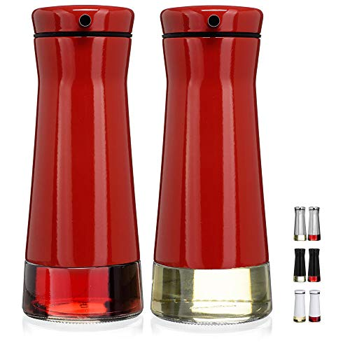 (CHEFVANTAGE Olive Oil and Vinegar Cruet Dispenser Set with Elegant Glass Bottle and Drip Free Design - Red)