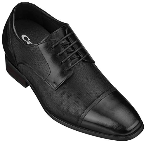 CALTO Men's Invisible Height Increasing Elevator Shoes - Black Premium Leather Lace-up Formal Oxfords - 3.2 Inches Taller - Y40552 - Size 6 D(M) US