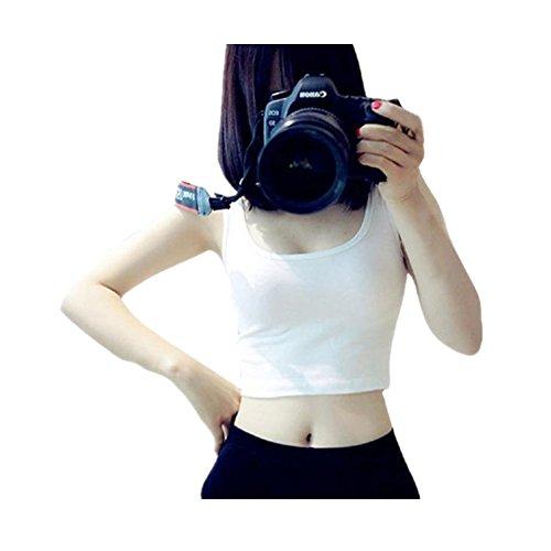Shirts WEUIE Women Tight Crop Top Skinny O-Neck T-Shirts Sports Dance Short Vest (L, White) ()