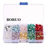 BORUO Gemstone Beads, Natural Chips Irregular 10 Color Passion Theme Assorted Box Set Loose Beads 7~8mm Crystal Energy Stone Healing Power for Jewelry Making(Plastic Box is Included)