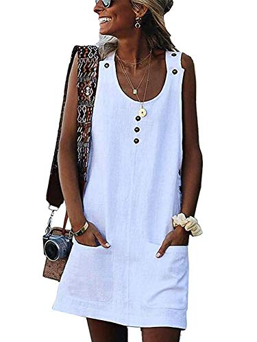 - ThusFar Women's Summer Button Mini Dress - Casual Sleeveless Crew Neck Solid Color Sundress with Pocket Small White